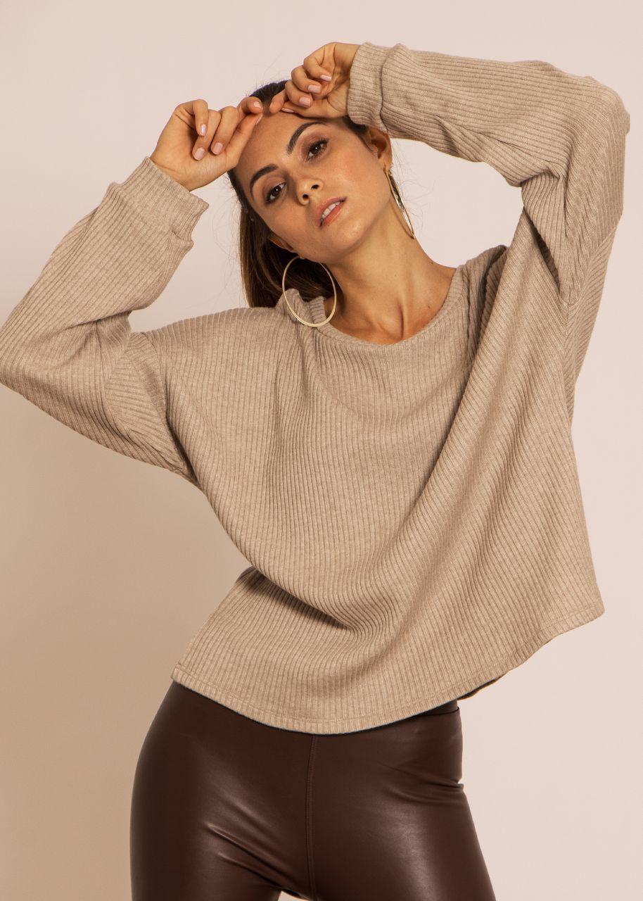 Ultra weicher oversize Sweater in Rippenjersey, beige