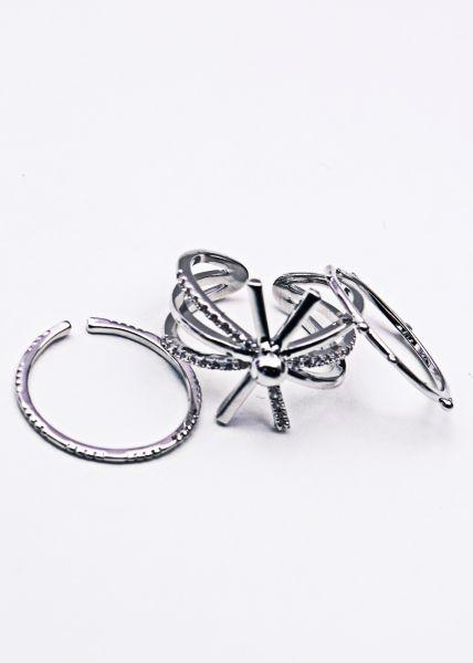3er Set Ringe, silbern
