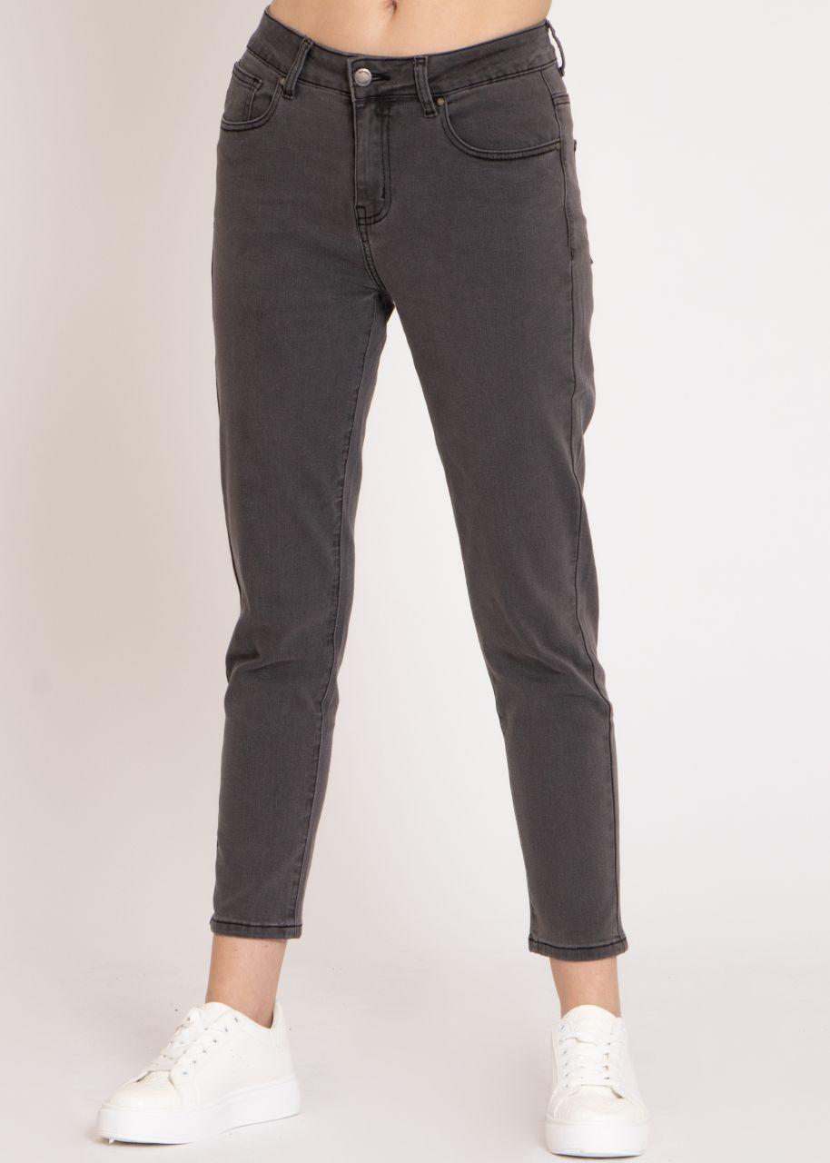 Boyfriend Jeans, grau