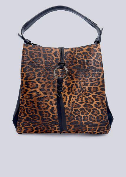 Softe Tasche in Leo-Print, braun/schwarz