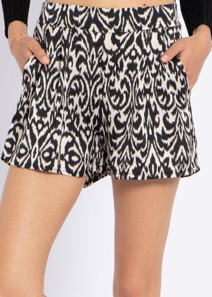 Satin-Shorts mit Print, schwarz/beige