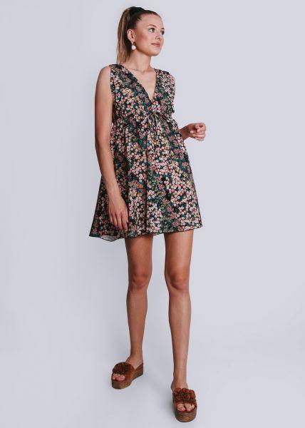 Kleid mit Print und tiefem V-Ausschnitt, schwarz