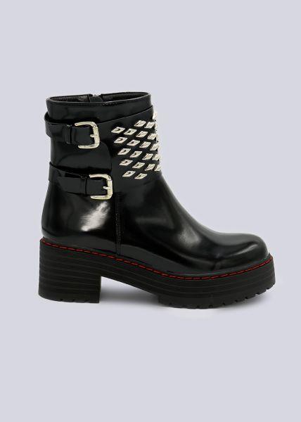 Plateau-Boots mit breitem Nietenband, schwarz