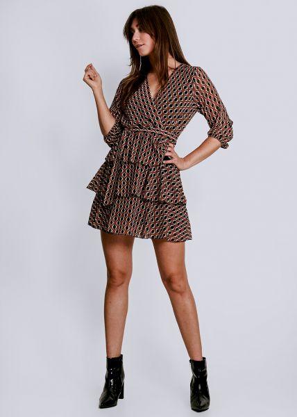 Kleid mit Volants, braun/schwarz