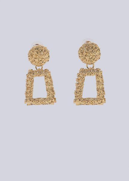 Mittelgroße Ohrstecker mit hängender Brosche, gold