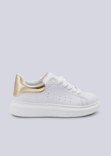 Sneaker mit goldener Ferse, weiß