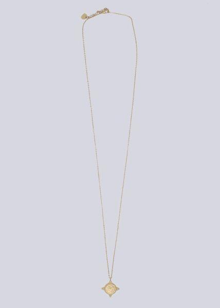 Lange Halskette mit rundem Anhänger, gold