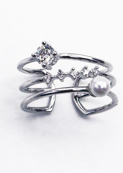 Filligraner Ring mit Perle, silbern