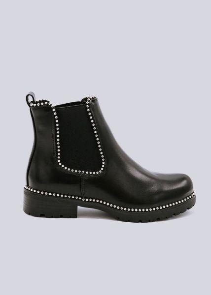 Chelsea-Boots mit kleinen Kugelnieten, schwarz