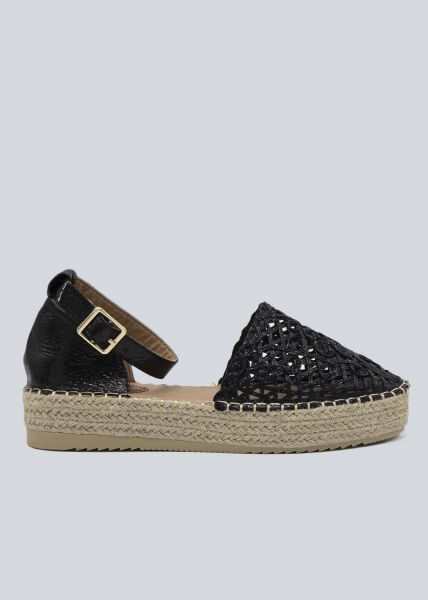 Espadrilles-Sandalen, schwarz