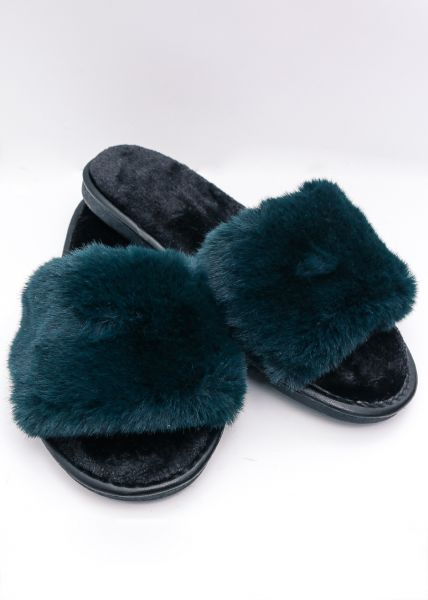 Fake Fur Slippers, grün