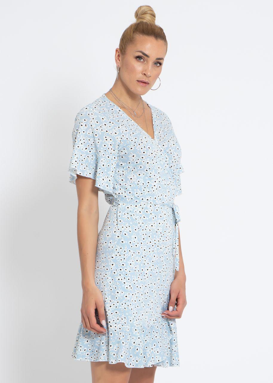 Jersey Wickelkleid mit Blumenprint, hellblau