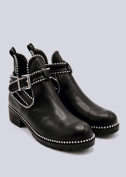 Cut-Out Booties mit silbernen Perlchen, schwarz