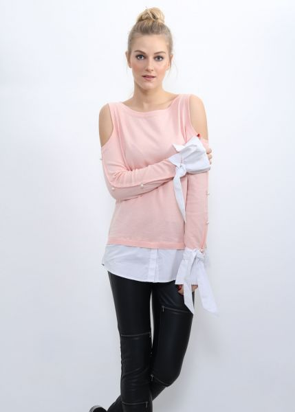 Two in One Pullover mit Cut Outs, rosa