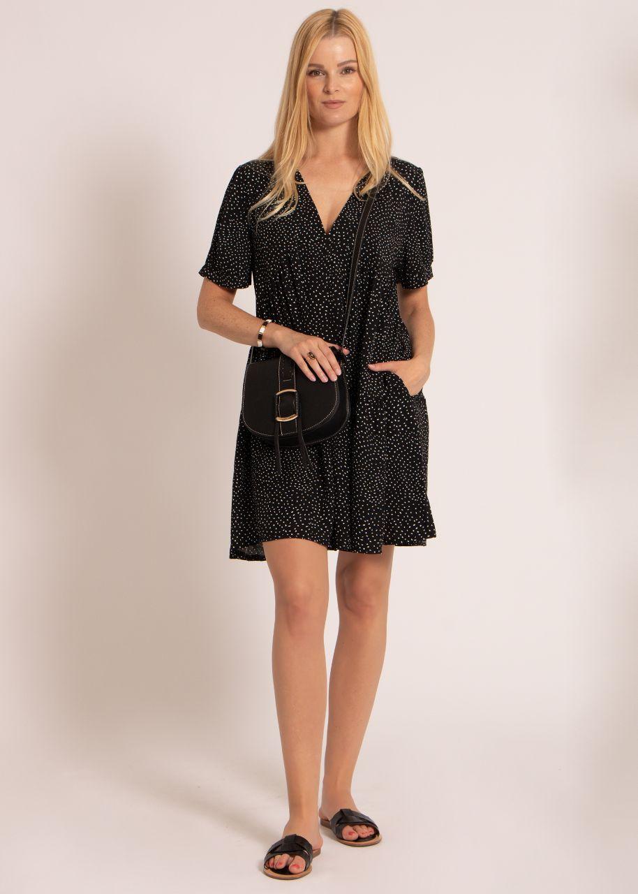 Hängerchenkleid mit Tupfen-Print, schwarz
