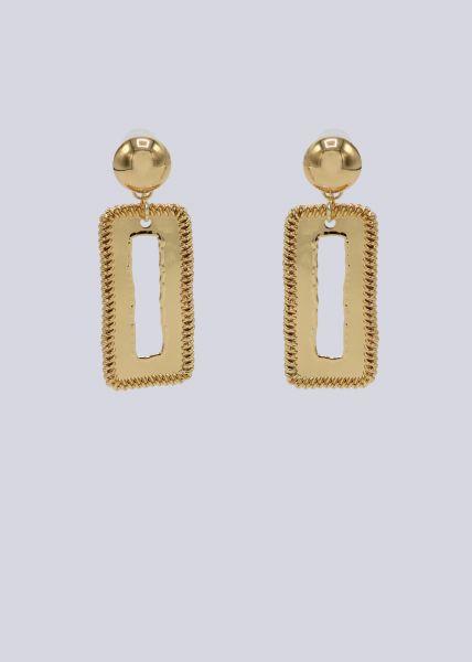 Ohrhänger mit rechteckigem Anhänger, gold