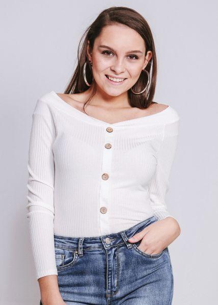 Shirt mit breitem Ausschnitt, weiß