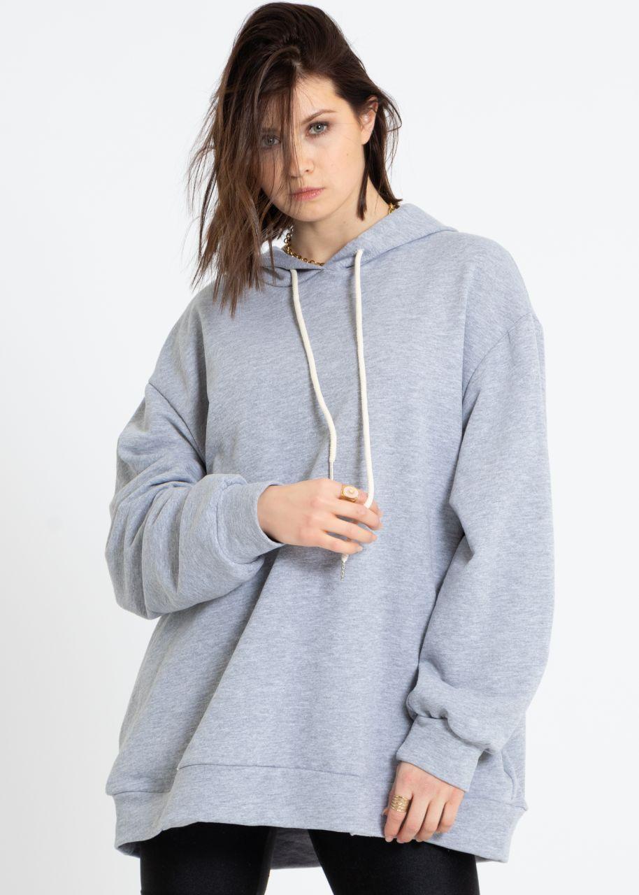 Oversize Hoodie mit Seitentaschen, grau