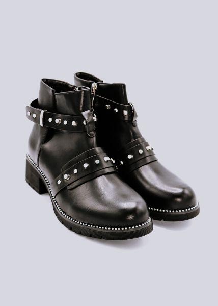 Cut-Out Boots mit Nieten, schwarz