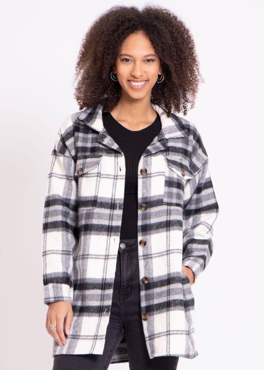 Lange Karo-Jacke, cremeweiß