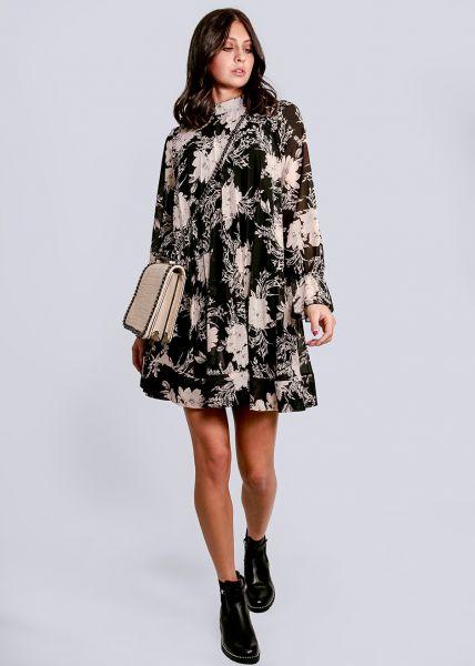 Plissée-Kleid mit Blumen-Print, schwarz/creme