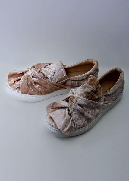 Velvet-Sneaker mit Schleife, beige