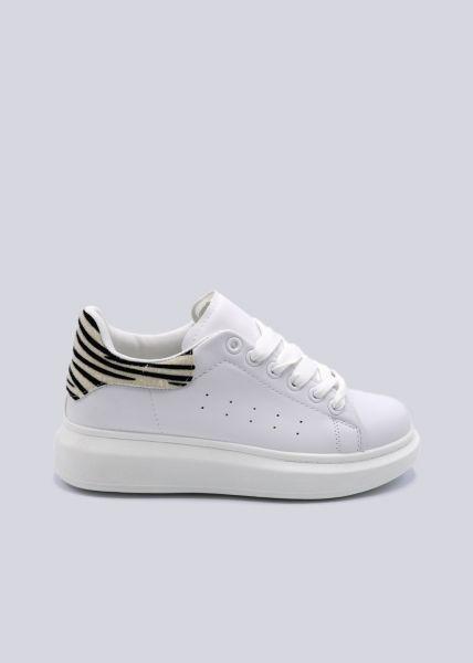 Plateau-Sneaker mit Zebra Ferse, weiß