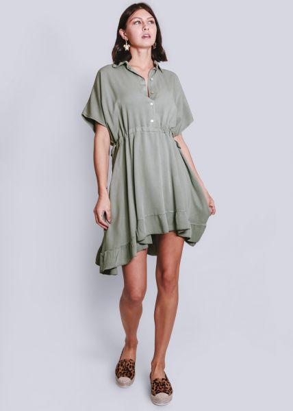 Hemdblusenkleid mit Volant, khaki