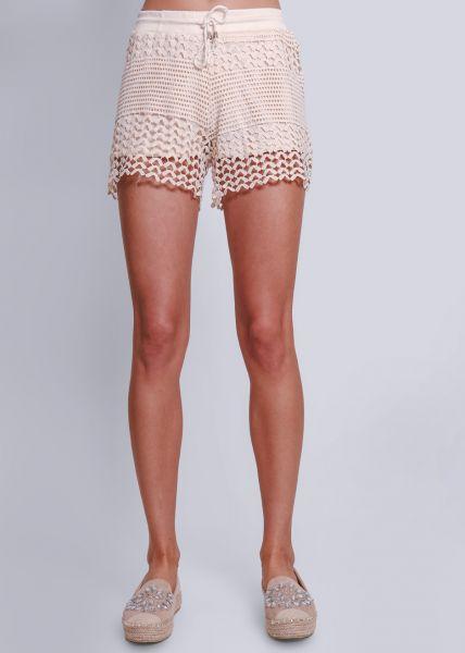 Shorts aus Spitze, beige
