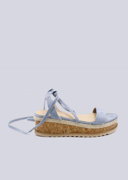 Schnür-Sandalen mit Plateau, blau