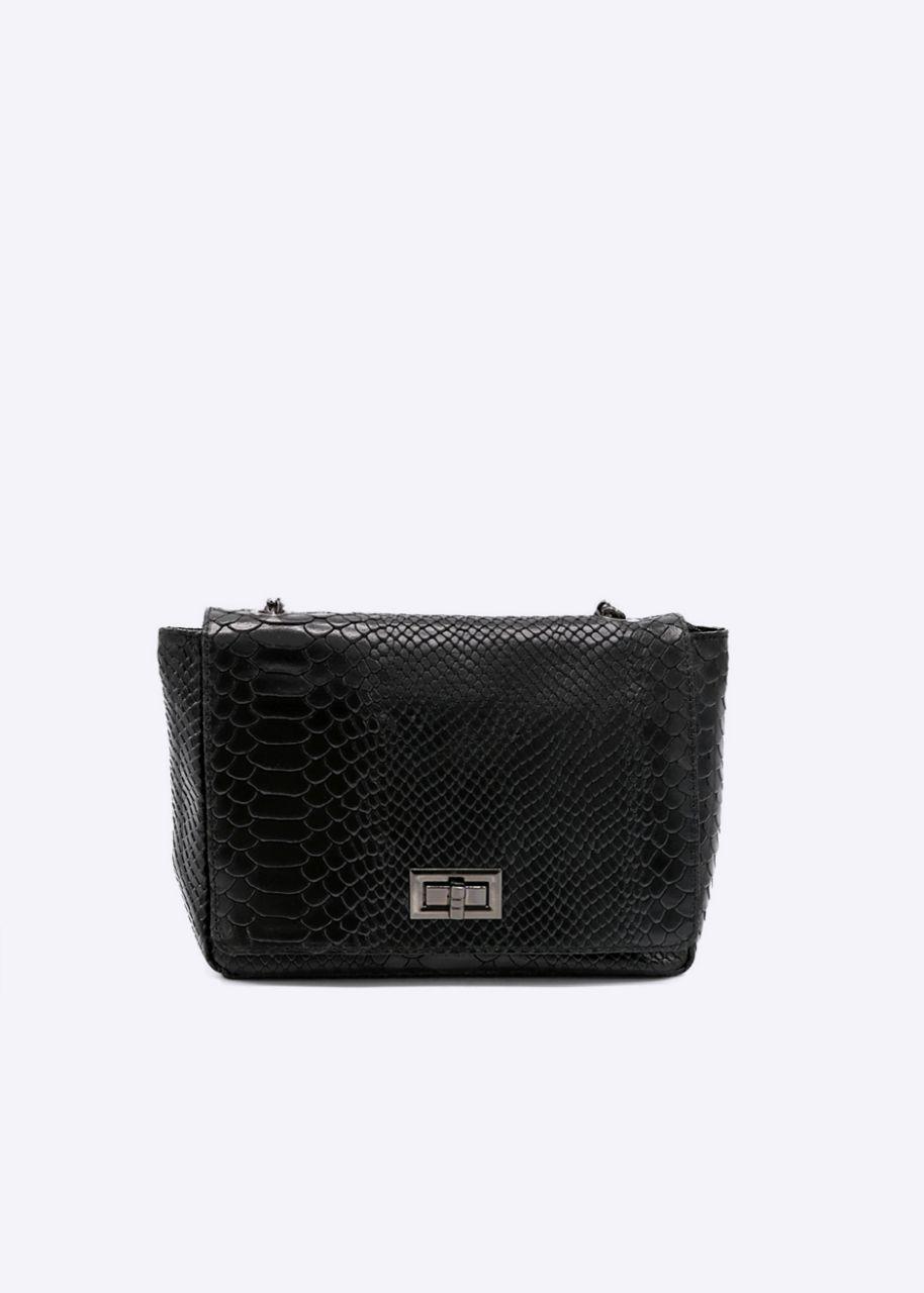 Leder-Tasche mit Krokoprägung, schwarz