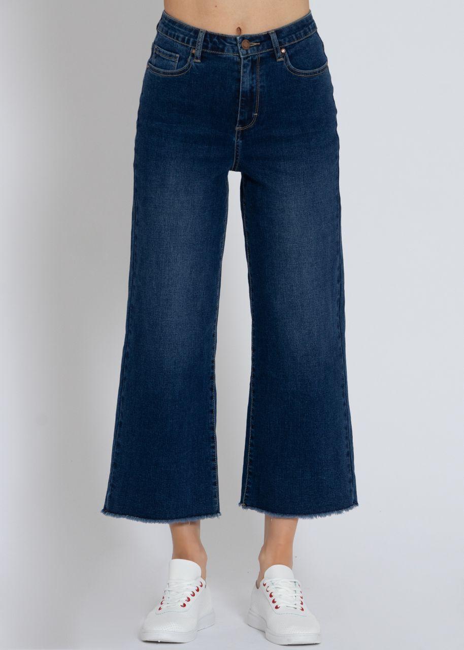 Knöchellange, ausgestellte Jeans, dunkelblau