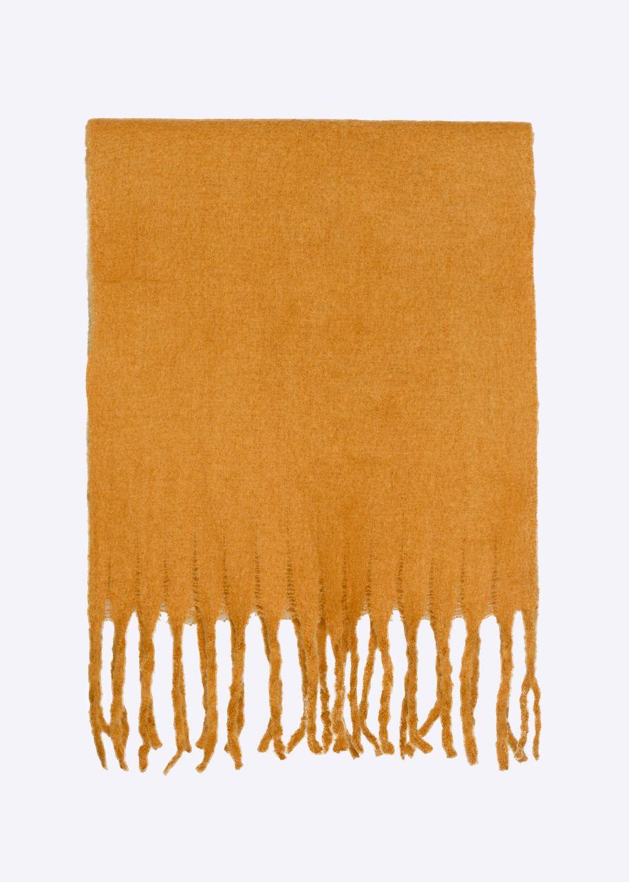 Schal mit langen Fransen, senfgelb