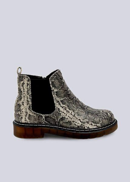 Chelsea-Boots in Snake-Optik, grau/beige
