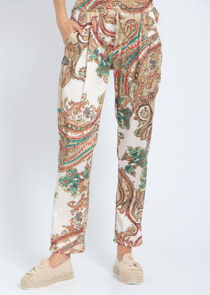 Satinhose mit Paisley-Print, beige