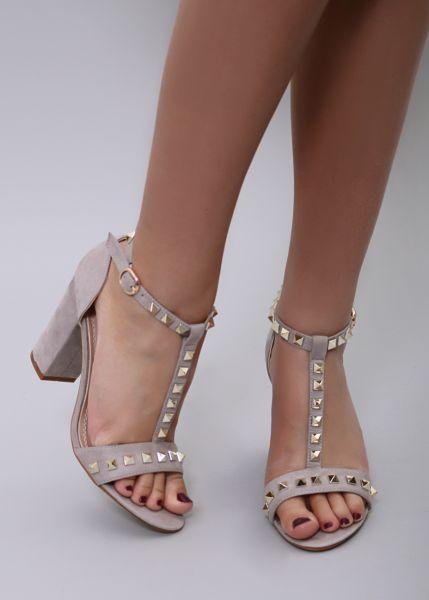 High-Heels mit Blockabsatz, beige