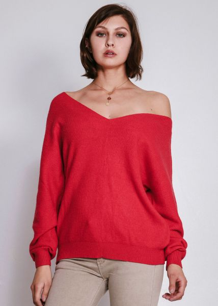 Lässiger Pullover mit V-Aussschnitt, rot