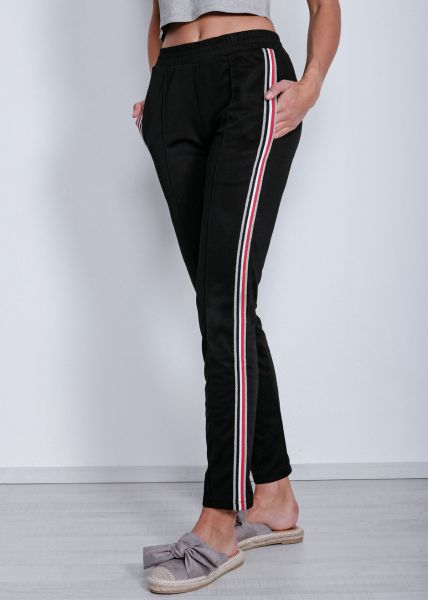 Lounge-Pants mit Streifen, schwarz