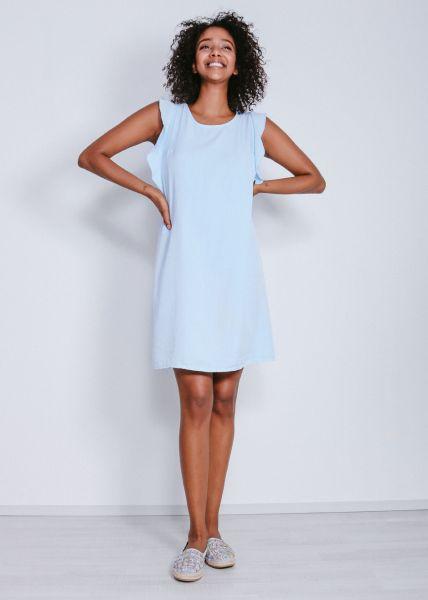 Shift-Kleid mit Volants, blau