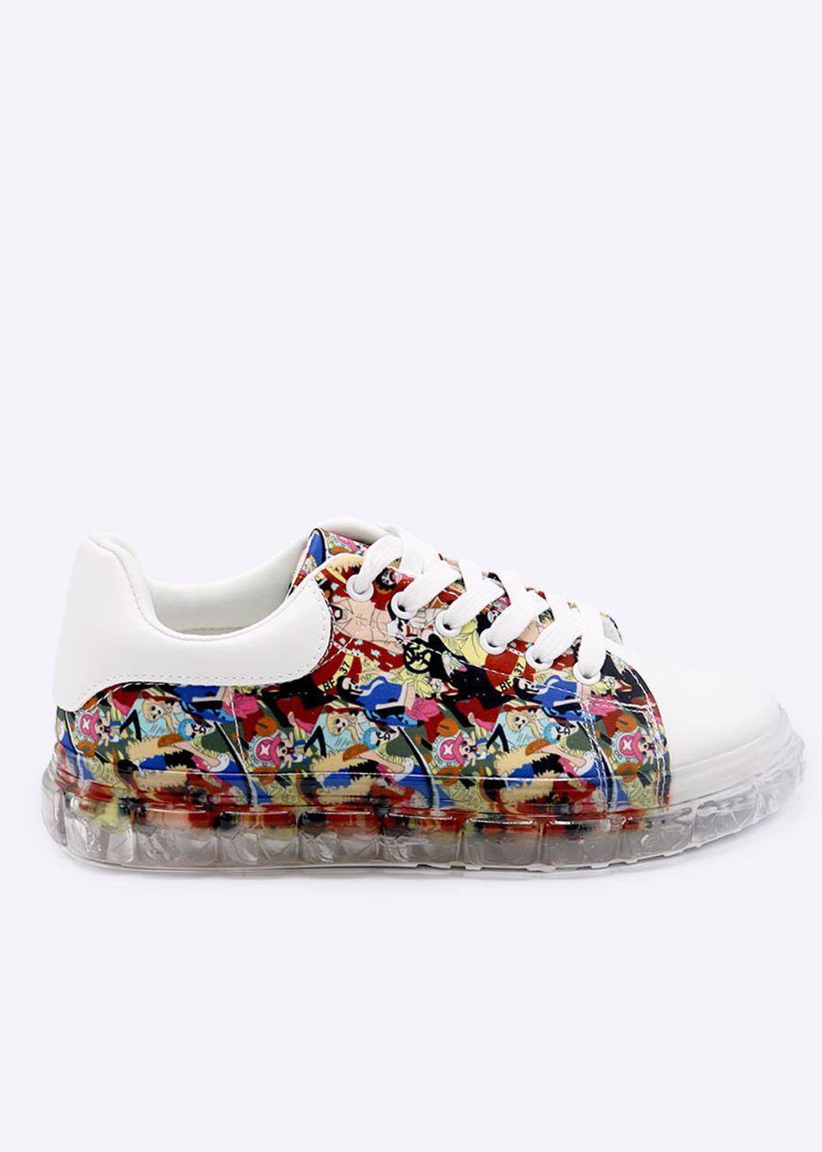 Plateau-Sneaker mit Print, weiß