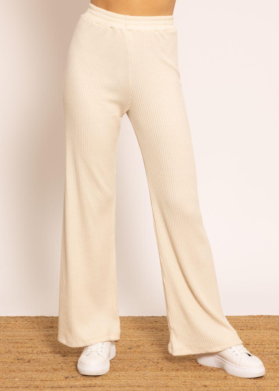 Weite Hose aus Rippenjersey, offwhite