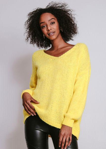 Pullover mit V-Ausschnitt, gelb