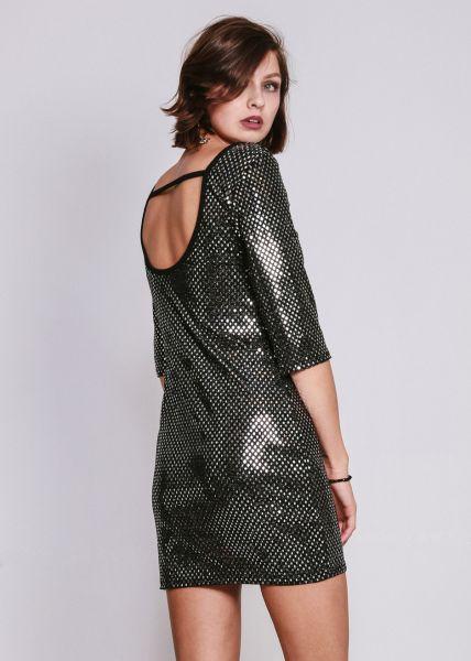 Jersey-Kleid mit Rückenausschnitt, schwarz
