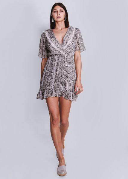 Kleid in Snake-Print, kurzarm, grau
