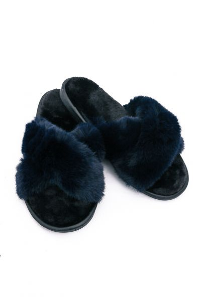 Fake Fur Sliders, dunkelblau