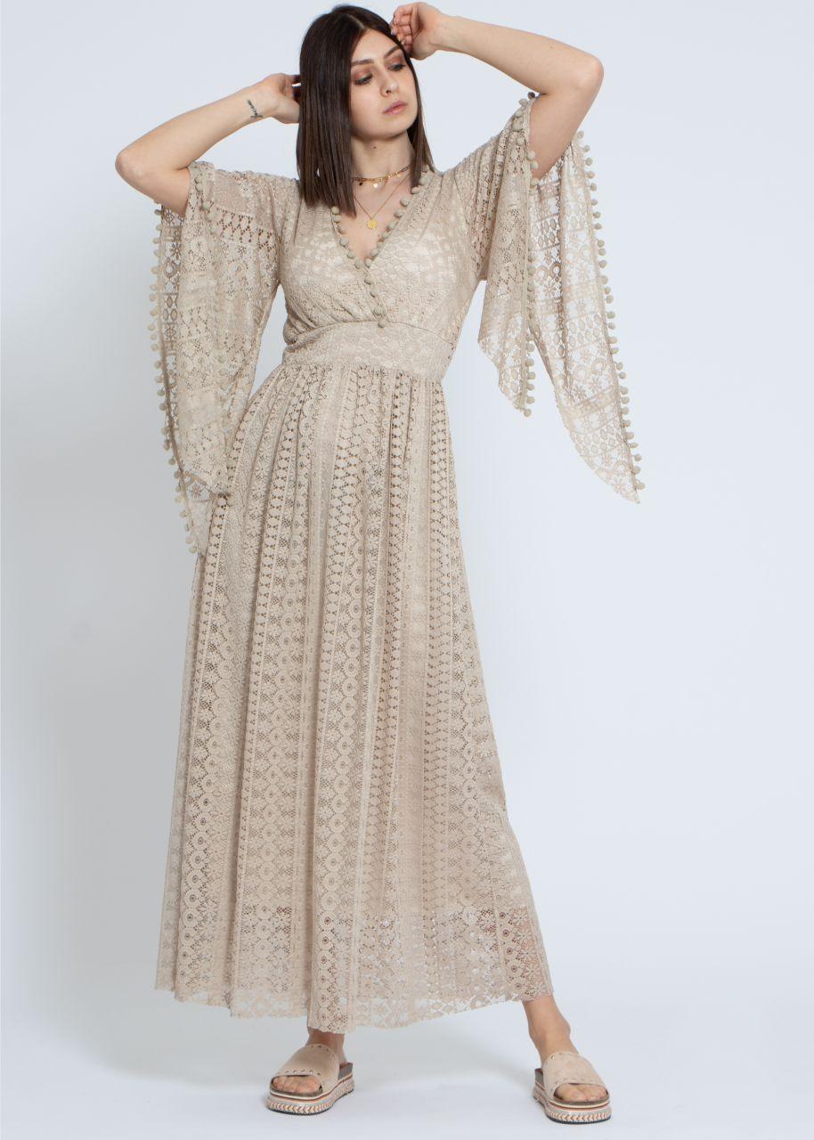 Spitzen-Kleid, beige