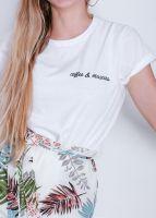 "T-Shirt ""coffee & mascara"", weiß"