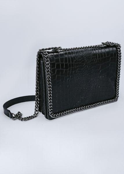 Umhängetasche aus Leder mit Prägung, schwarz