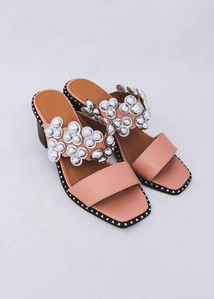 Sandaletten mit Kugelnieten, rosa