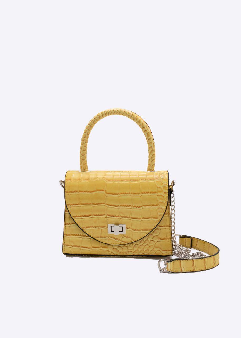 Kroko-Bag mit Kettenhenkel, gelb